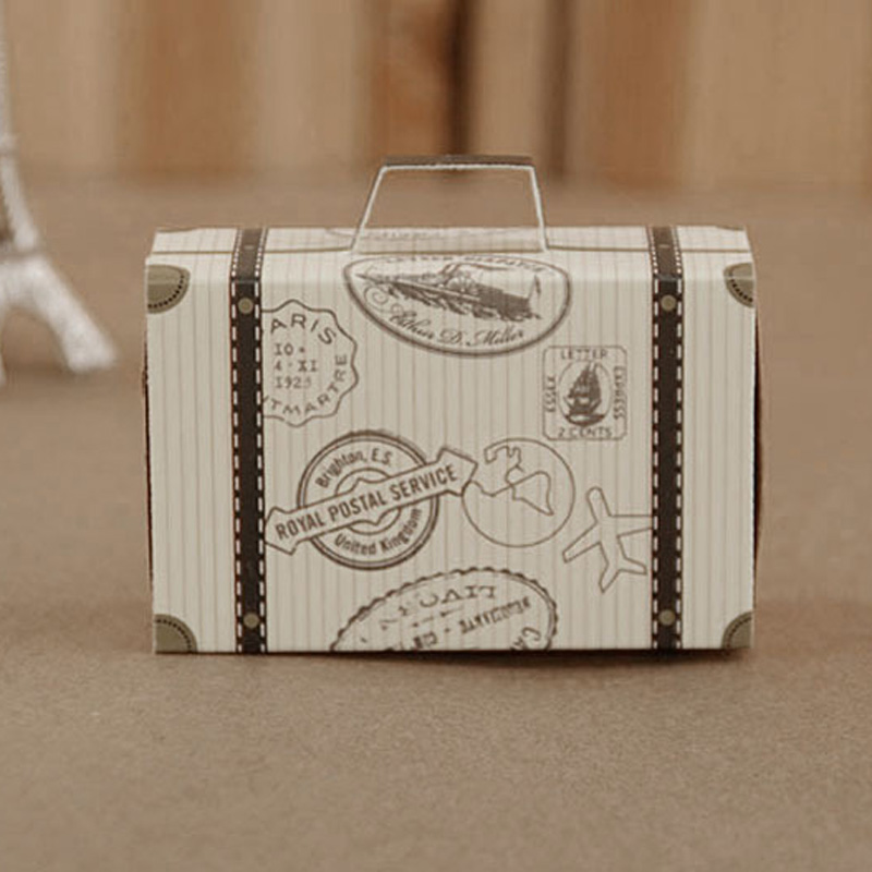 100pcs Mini Suitcase Kraft Candy Box Bonbonniere Wedding Gift Boxes Travel Themed Party for Anniversary Birthday Baby Shower Box