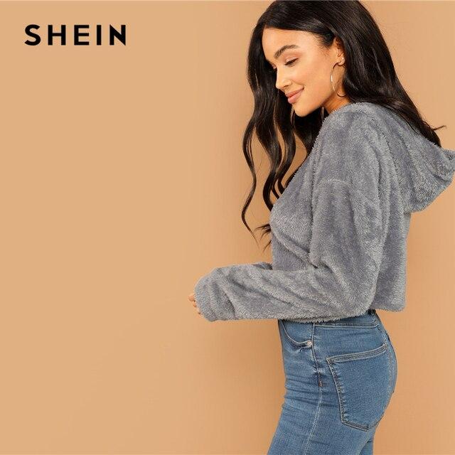 SHEIN Grey Minimalist Solid Drop Shoulder Crop Teddy Hoodie Sweatshirt Autumn Casual Fashion Women Pullovers Sweatshirts 1