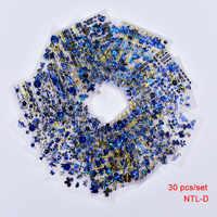 30 blätter 3D Gold Blau Abziehbilder Heißer Stanzen Nagel Kunst Aufkleber Nail art Design Bling Shinning Schmetterling Selbstklebende Nagel tattoos,