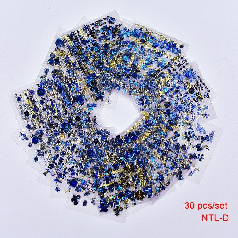 30 feuilles 3D or bleu décalcomanies marquage à chaud Nail Art autocollants Nail Art Design Bling Shinning papillon auto-adhésif ongles tatouages,