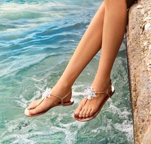 Playa Las Negro Flip Plana Sandalias Verano Mujeres Cristal De Mujer Flops Planas Rhinestone T marrón Correa wq68pT5