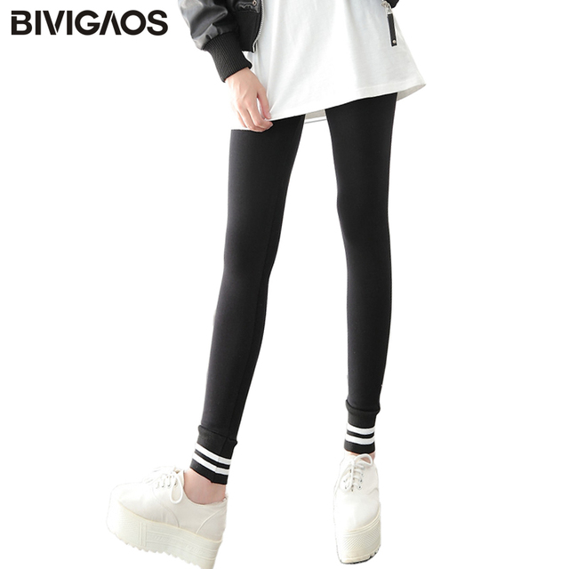 947d0f456ea BIVIGAOS Fall Ankle Stitching White Stripe Women Leggings Cotton Slim Black  Workout Leggings Gothic Legging Pants Women Gotico