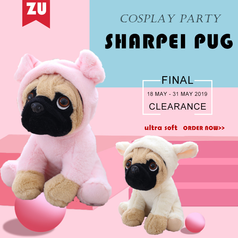 Adorable Fluffy 20CM Stuffed Farm Dogs Plush Sharpei Pug Doggie Soft Toys in Dino Lion Tiger Rabbit Pig and Elephant Costumes image