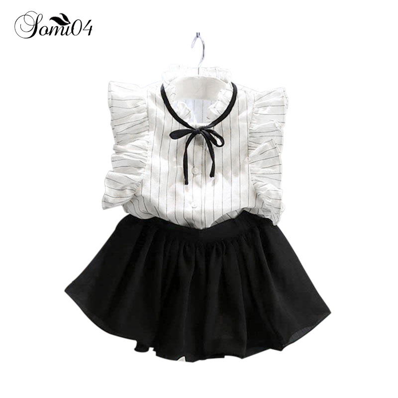 2018 Summer Girls Suit Bow Princess White Sleeveless Fashion Stripes Shirts Blouse + Black Chiffon Skirts 2 3 4 5 6 7 8 9 Years