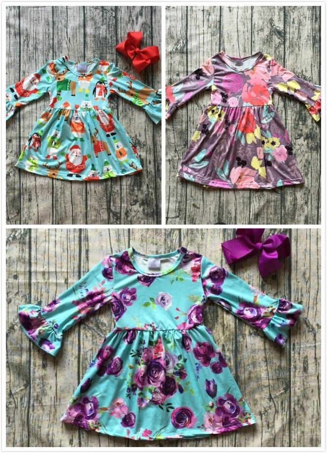 Nueva seda de la leche Navidad niñas niños ropa de bebé de algodón otoño/invierno santa púrpura floral manga larga ruffle dress boutique kid