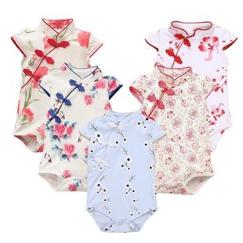 ff03fd595 Estilo de verano ropa de bebé elegante mameluco niña mameluco Cheongsam  traje de Bebe Floral impresión mono infantil recién nacido traje de bebé