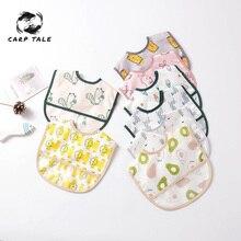 Newborn baby waterproof bib cartoon printing cotton newborn girl boy child feeding scarf toddler scarves