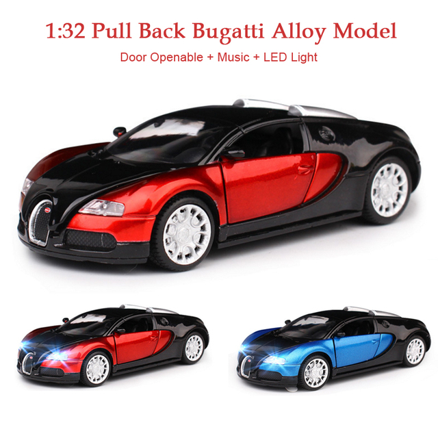 Alloy 1 : 32 Pull Back Bugatti Veyron Diecast Car Toy Collection Diecast Car  Model With
