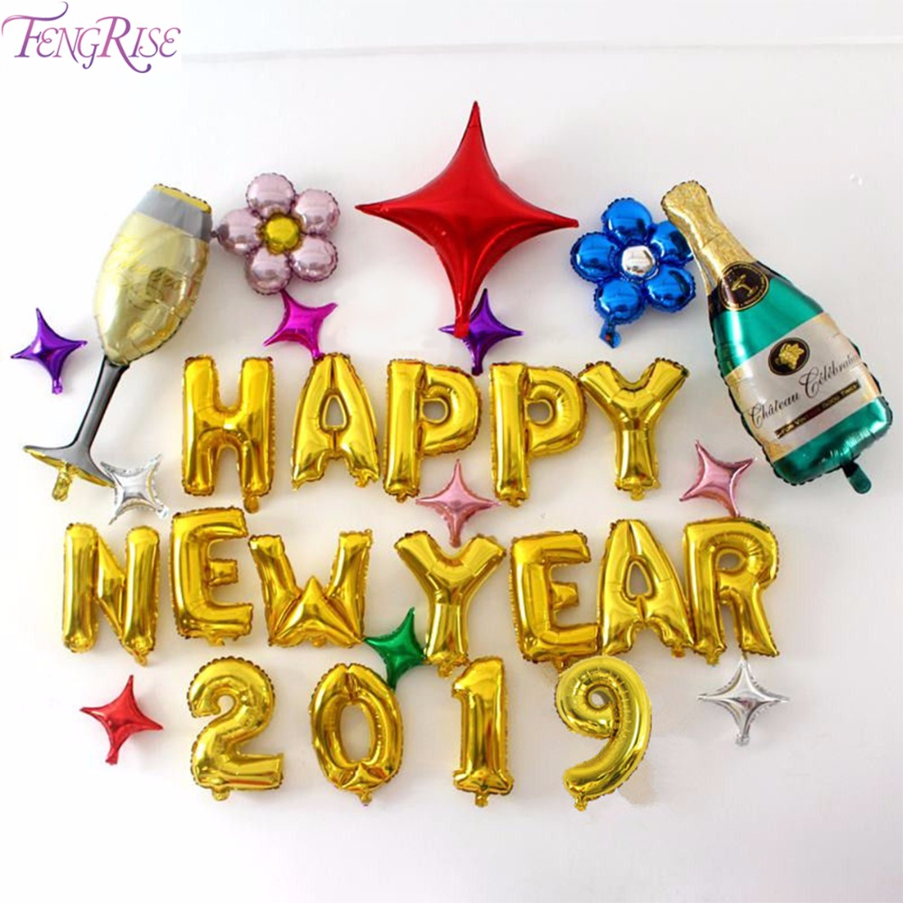 Fengrise Happy New Year Balloons New Year Decoration 2019 Baloon