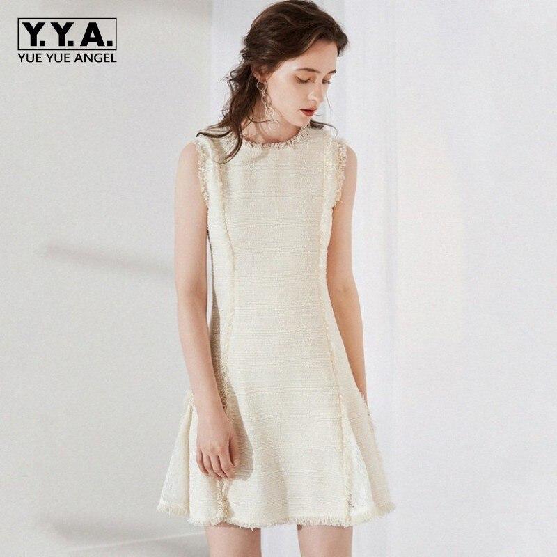 Белое шикарное шерстяное платье Лето Без Рукавов твидовые платья женские дизайнерские vestidos mujer 2019 офис OL кружевное женское вечернее сексуа