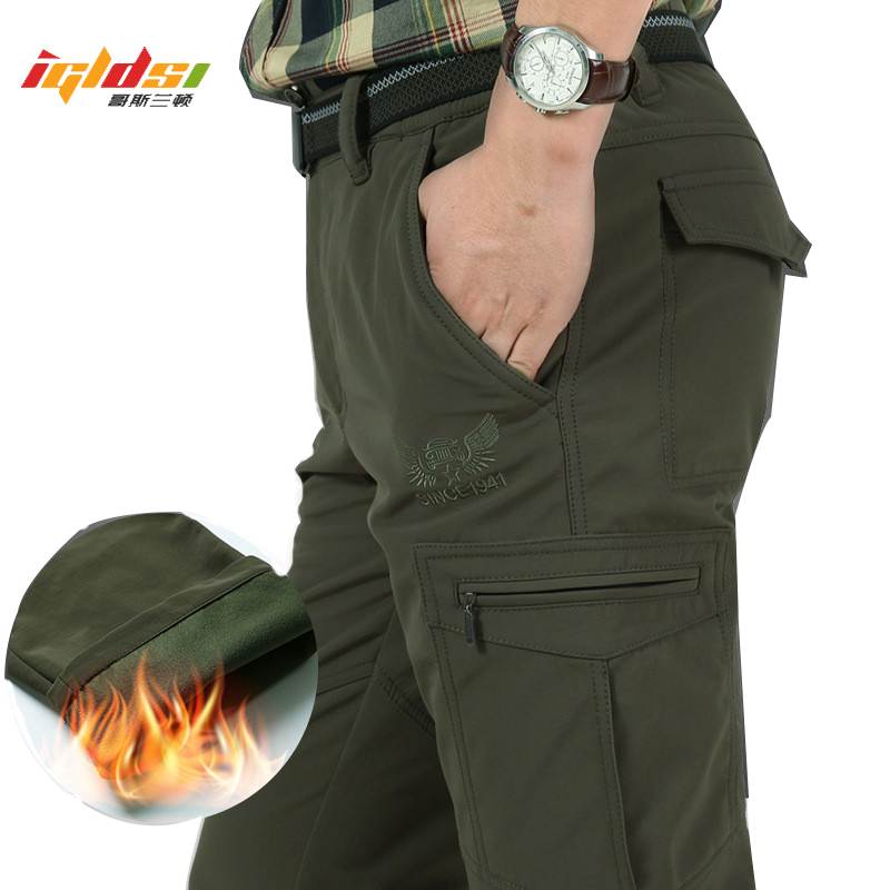 Winter Fleece Shark Skin Thick Warm Waterproof Cargo Pants Men's Casual Tactical Military Breathable Baggy Jogeer Long Trousers