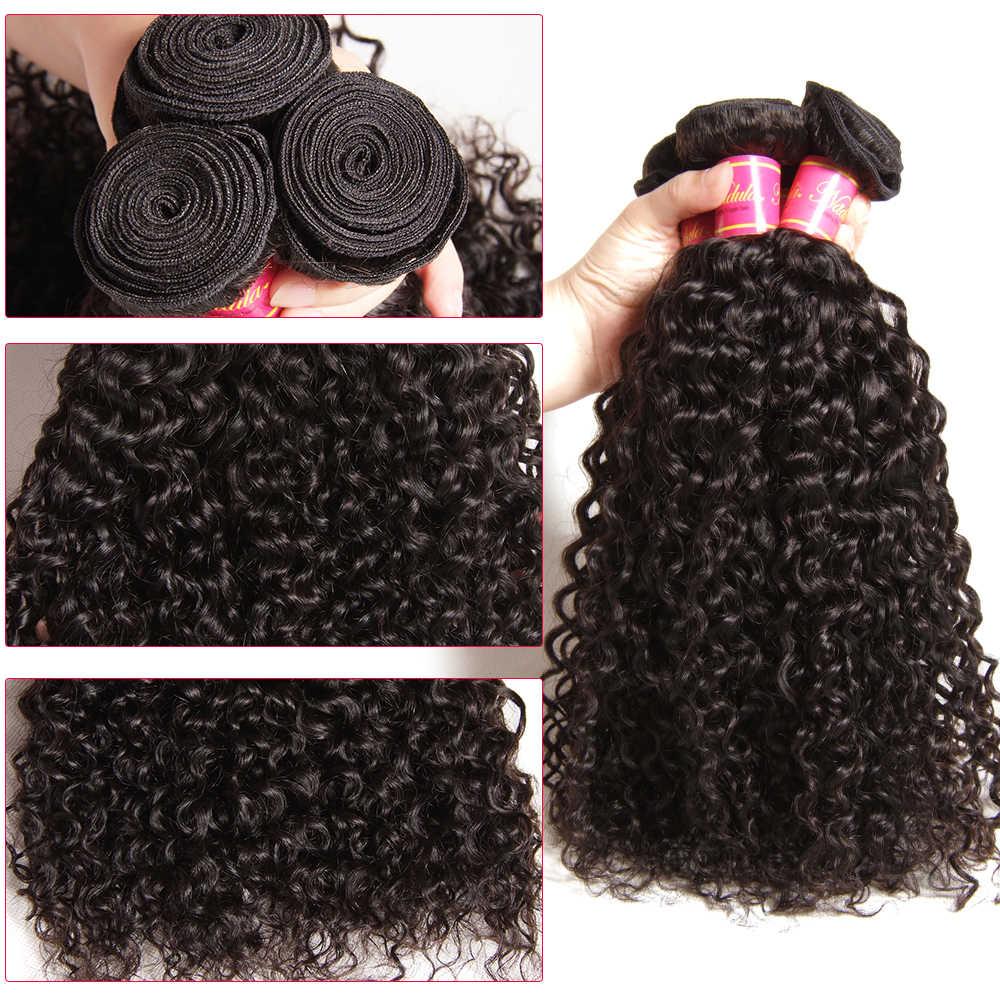 Nadula Hair 3 mechones con 2 uds. De pelo rizado malayo con cierre 100% extensión de pelo humano Remy con cierre de encaje