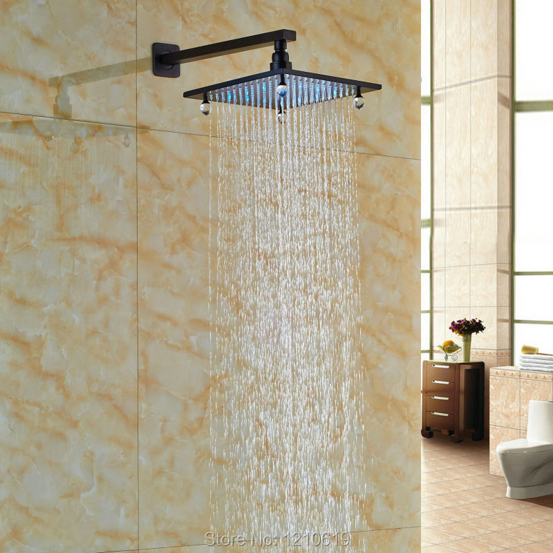 ФОТО Newly Luxury Crystal Shower Head w/ Shower Arm LED Color Changing 8 Inch Top Shower Sprayer Oil-rubbed Bronze