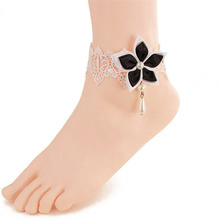 Beautiful Chinese Redbud White Lace Anklets For Women Chain Anklet Bracelets Gift LS46