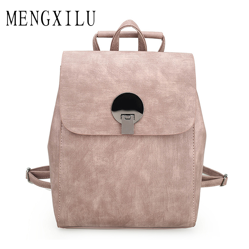 MENGXILU Fashion Sequined Backpacks For Teenage Girls Lock Pu Leather Backpack Women Bag Hot Shoulder Bags New High Quality New 2016 fashion women waterproof pu leather rivet backpack women s backpacks for teenage girls ladies bags with zippers black bags
