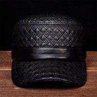 HL080 Men brand new spring real leather caps hats Men's genuine leather baseball caps