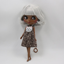 Factory Neo Blythe Doll Darkest Skin Silver Short Hair Jointed & Regular Body 30cm