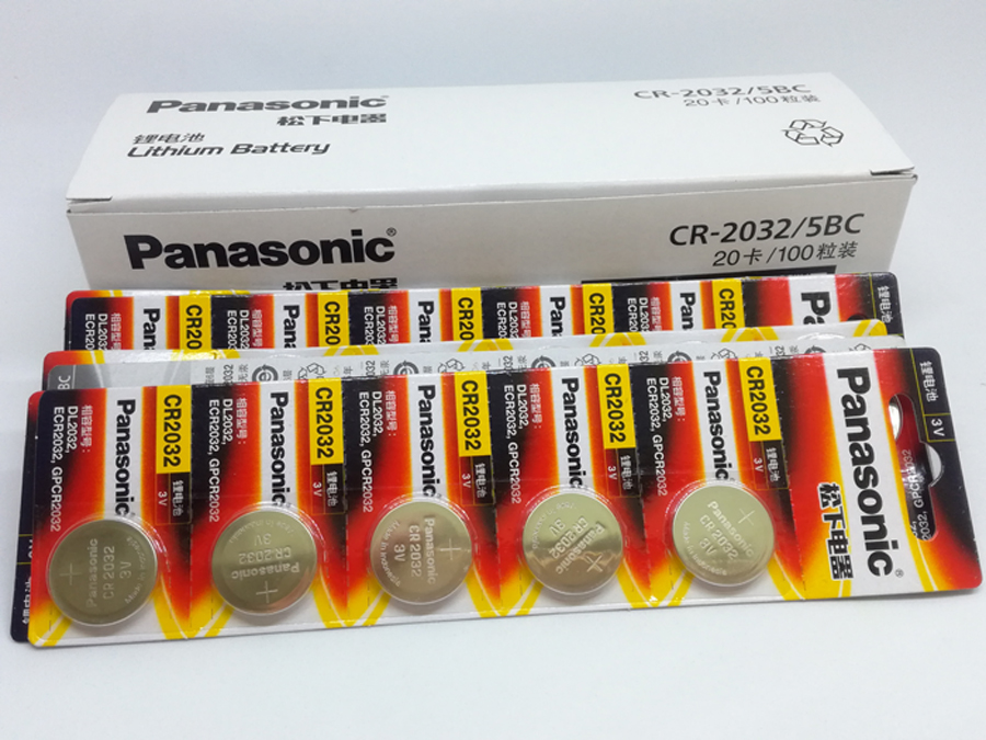 100PCS LOT New Original Panasonic CR2032 CR 2032 3V Button Cell Battery Coin Batteries For Watch Computer in Button Cell Batteries from Consumer Electronics