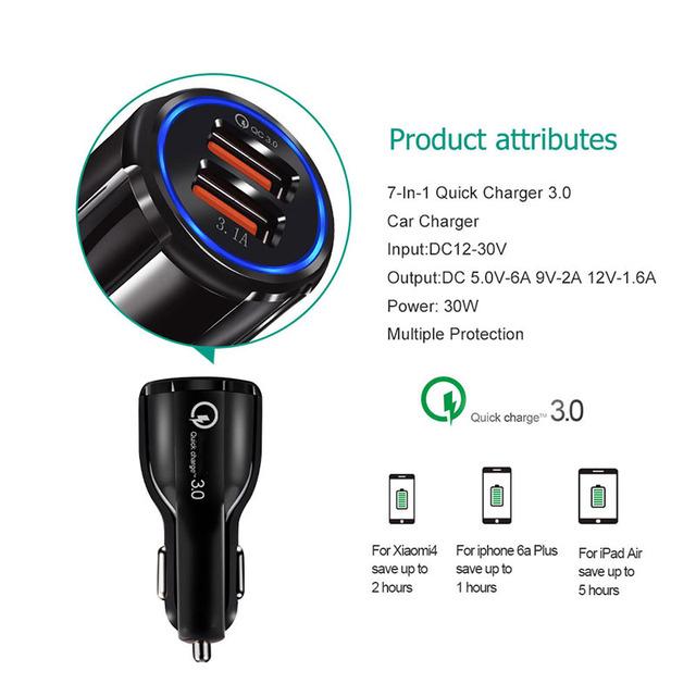Car USB Charger Cigarette Lighter Splitter Quick Charge QC 3.0 Auto Cigarette Lighter Car Socket Adapter Dual USB Accessories