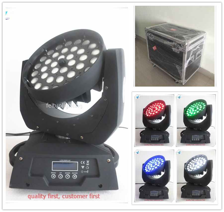 2pcs/lot flightcase 36x10w RGBW 4in1 Zoom Wash Moving Head Light LED Sound Active New Stage Party Show DJ Moving Head Lighting