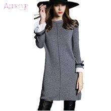 1c2517b08cc APOENGE 2018 Nouveau Automne Hiver robe En Laine tricoté Femmes Longues robe  pull grande taille mini