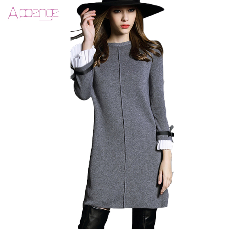APOENGE 2018 New Autumn Winter Woolen dress knitted dress Women Long sweater dress large size mini