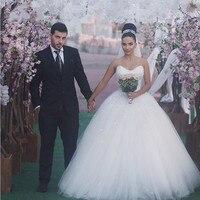 Vestido De Noiva Princesa Luxo Ball Gown Tulle Sparkly Wedding Party Dress with Long Veil