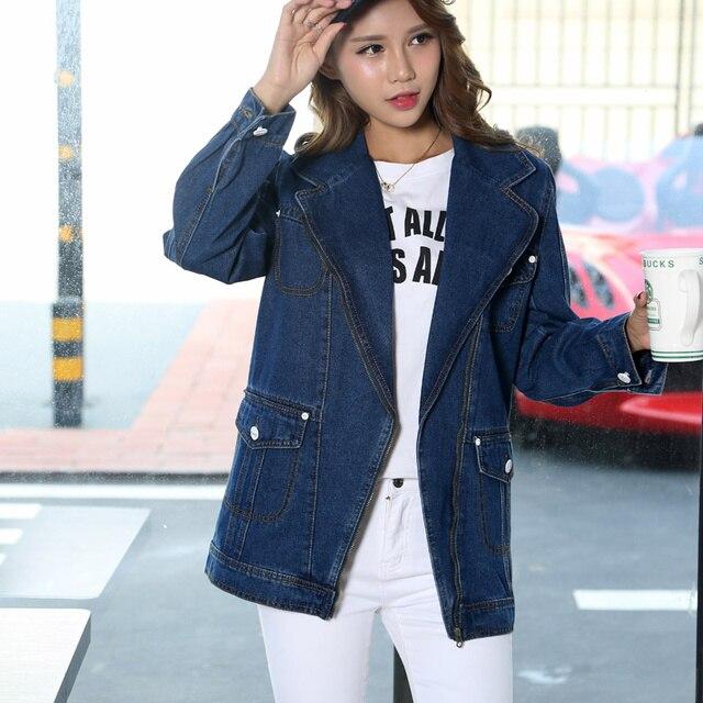 pretty nice 908c8 95ad9 US $16.0 |2017 primavera autunno vintage cappotto distintivo delle donne  giacca di jeans da donna autunno giacche jeans cappotti donne outwear  lunghi ...