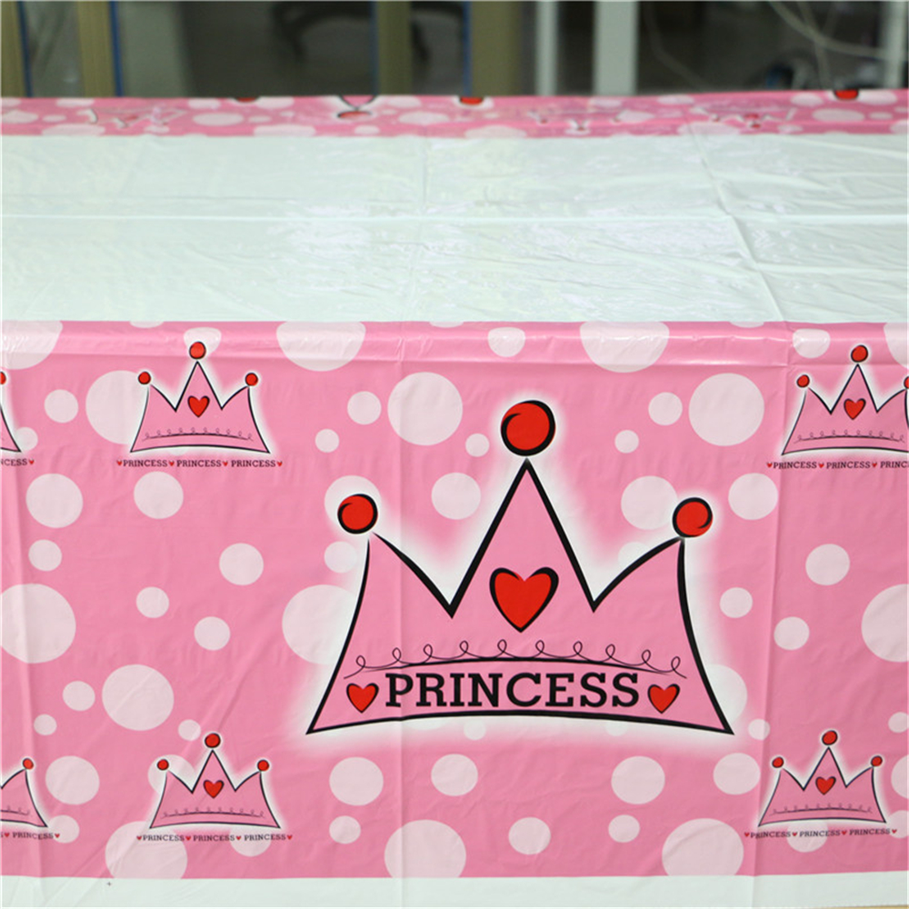 Teal Girls Princess Crown Happy Birthday Me Pe Table Cloth Forkids Happy Birthday Party Decoration Disposable Partytableware Girls Princess Crown Happy Birthday Me Pe Table