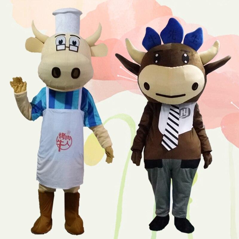 Blanc et noir lait vache mascotte Costume taureau veau boeuf mascotte lait déguisements Costumes adulte Costume taille pour Halloween fête événement