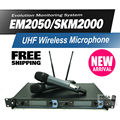 Free shipping! EM2050/SKM2000 Professional UHF Wireless Microphone Monitor System with Dual Handheld Transmitter Microfone Mike