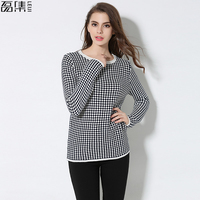 Sweater Shirt Women Jumper 2017 Autumn plus size Sweater Long Sleeve Women Knitwear plaid Loose Sweater Female Pullover