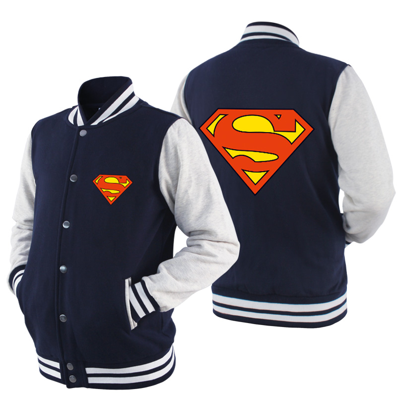 2017 New Listing font b mens b font clothes fashion Superman Heros Spring Summer Zipper Baseball