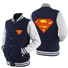 2017 New Listing font b mens b font clothes fashion Superman Heros Spring Summer Zipper Baseball