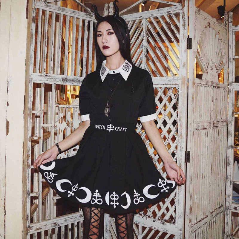 fcd61960a0 Witch Craft Gothic Skirt Women High Waist A line Mini Pleated Skirt  Harajuku Punk Rock Witch
