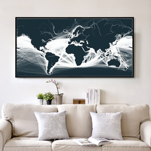 Elegant Poetry Modern Minimalistic Abstract Black And White Map Canvas Painting Print Poster Picture Art Wall Home Decoration
