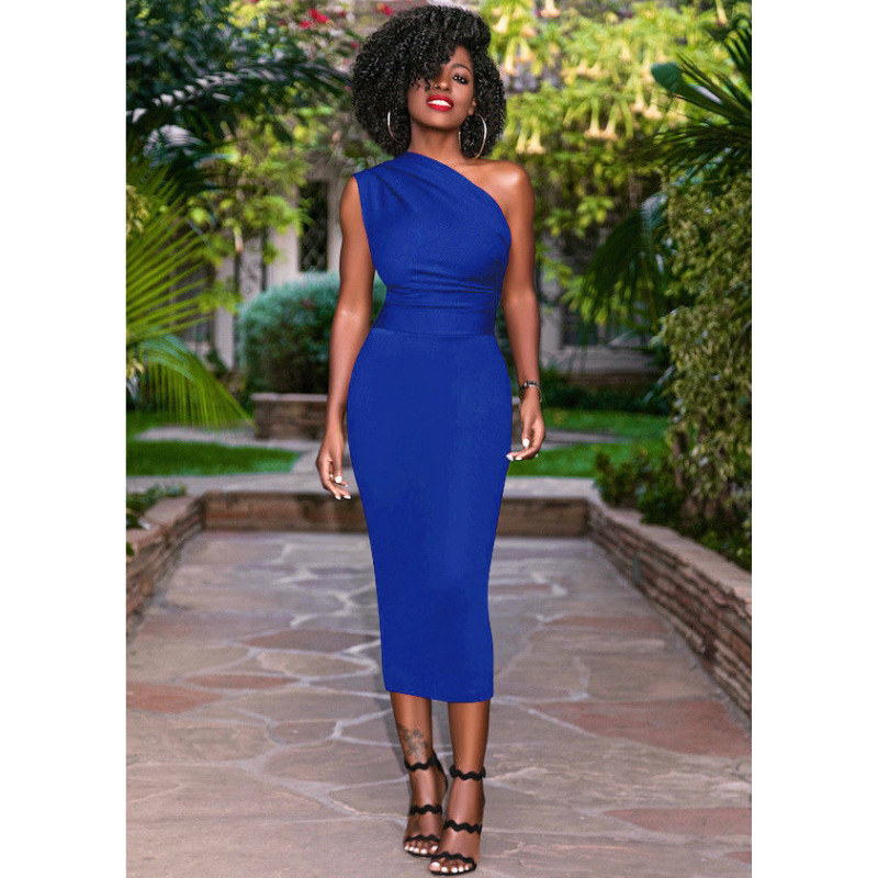 Women one shoulder dress 2020 womens OL dress elegant bodycon  bandage party Knee length dresses Plus Size vestido