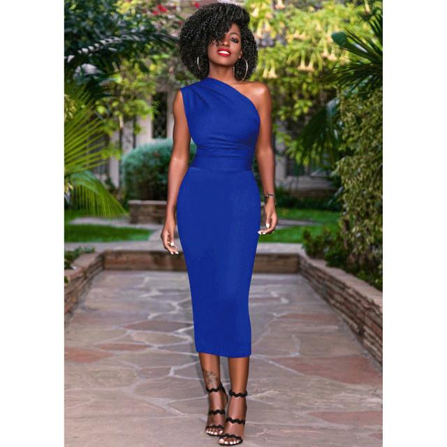 Women one shoulder dress 2018 womens OL dress elegant bodycon  bandage party Knee length dresses Plus Size vestido