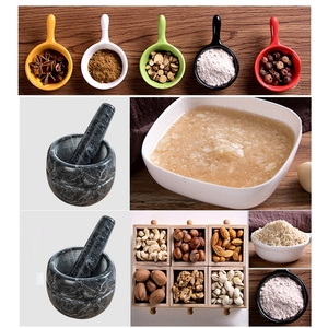 Image 5 - Natural Stone Durable Mortar With Pestle Multipurpose Salt Pepper Mill Manual Garlic Crusher Mincer Grain Herb Spice Grinder