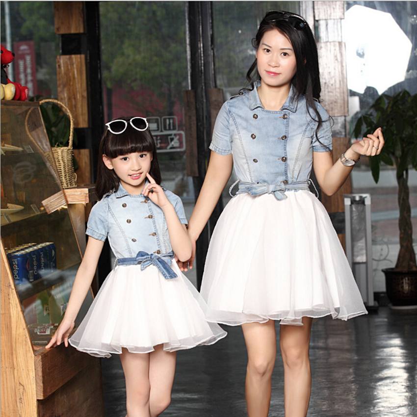 083d79d82f Family Outfits Clothes Mother Daughter Matching Women Girls Blue White Dress  New Women's Clothing
