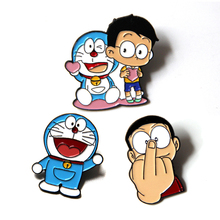 Doraemon characters cute kids cosplay women 90s funny cartoon backpack clothes diy decoration Enamel Brooches badge collar pins