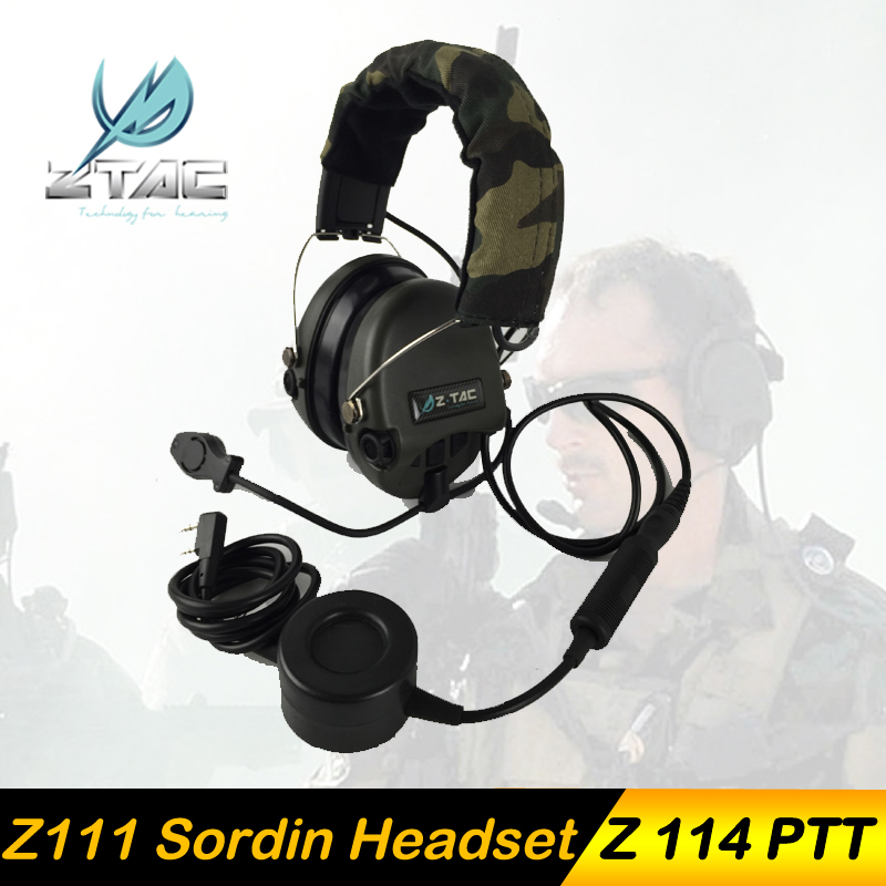 купить Z-TAC Z Tactical Sordin Headphones Hunting Softair Headset Airsofit Z111 PTT kenwood Midland Peltor Arsoft Earphone For Shooting