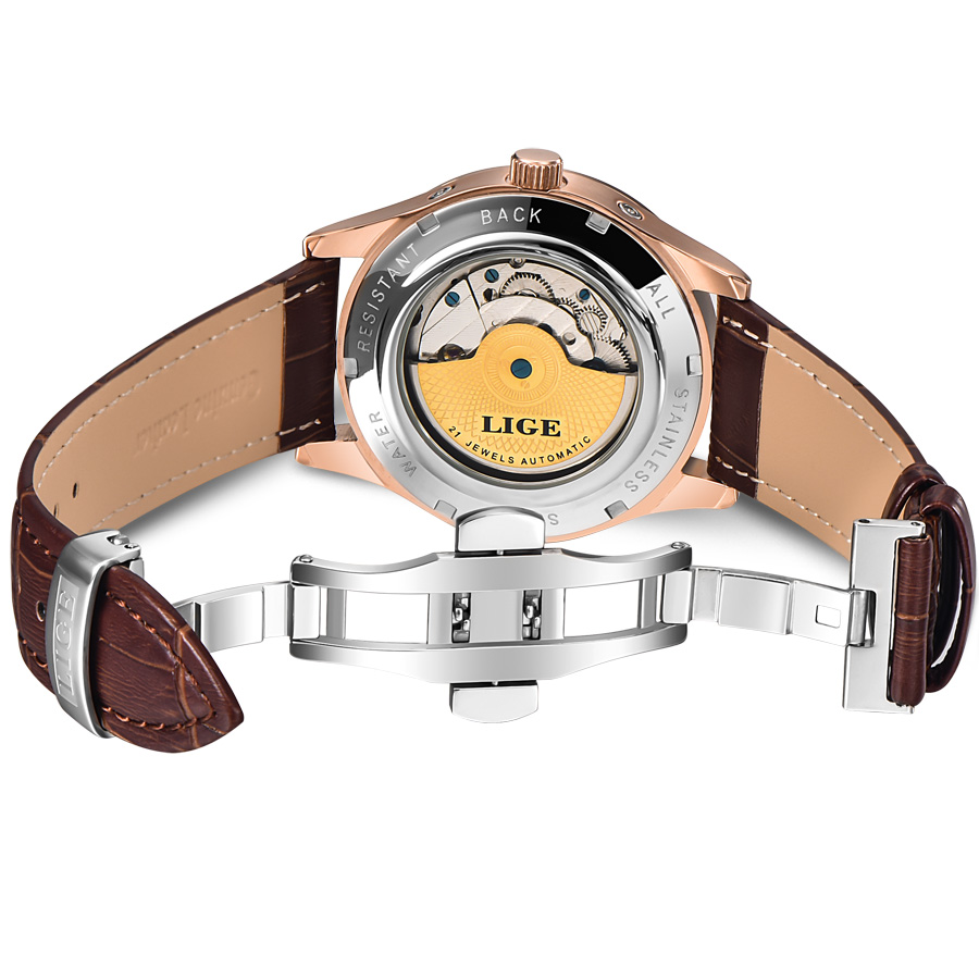 LIGE Brand Men Watches Automatic Mechanical Watch Tourbillon Sport Clock Leather Casual Business Retro Wristwatch Relojes Hombre 3