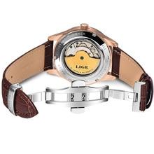 LIGE العلامة التجارية الرجال الساعات التلقائي ساعة ميكانيكية توربيون الرياضة ساعة جلدية عادية الأعمال ريترو ساعة اليد Relojes Hombre