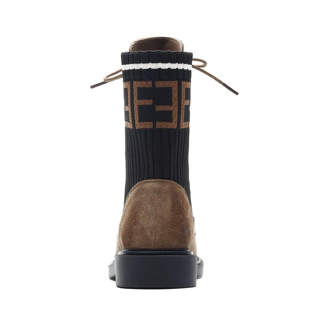 Femme Lacets Sarairis Chaussures Mode Hiver marron Daim Marque Noir Vache Femmes Arrondi De Décontracté En Noir Bout À Partie Rétro Nouvelle Bottines Printemps qzrOvqnp
