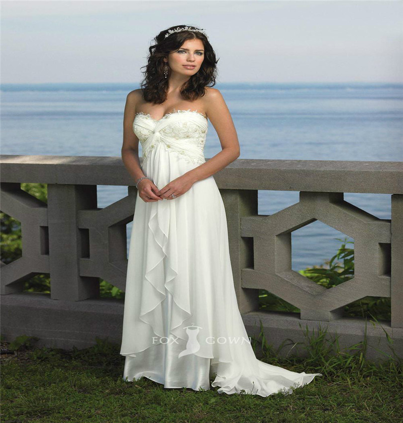 Best Time To Buy Wedding Dress: Strapless Chiffon Sweetheart Beach Wedding Dress With