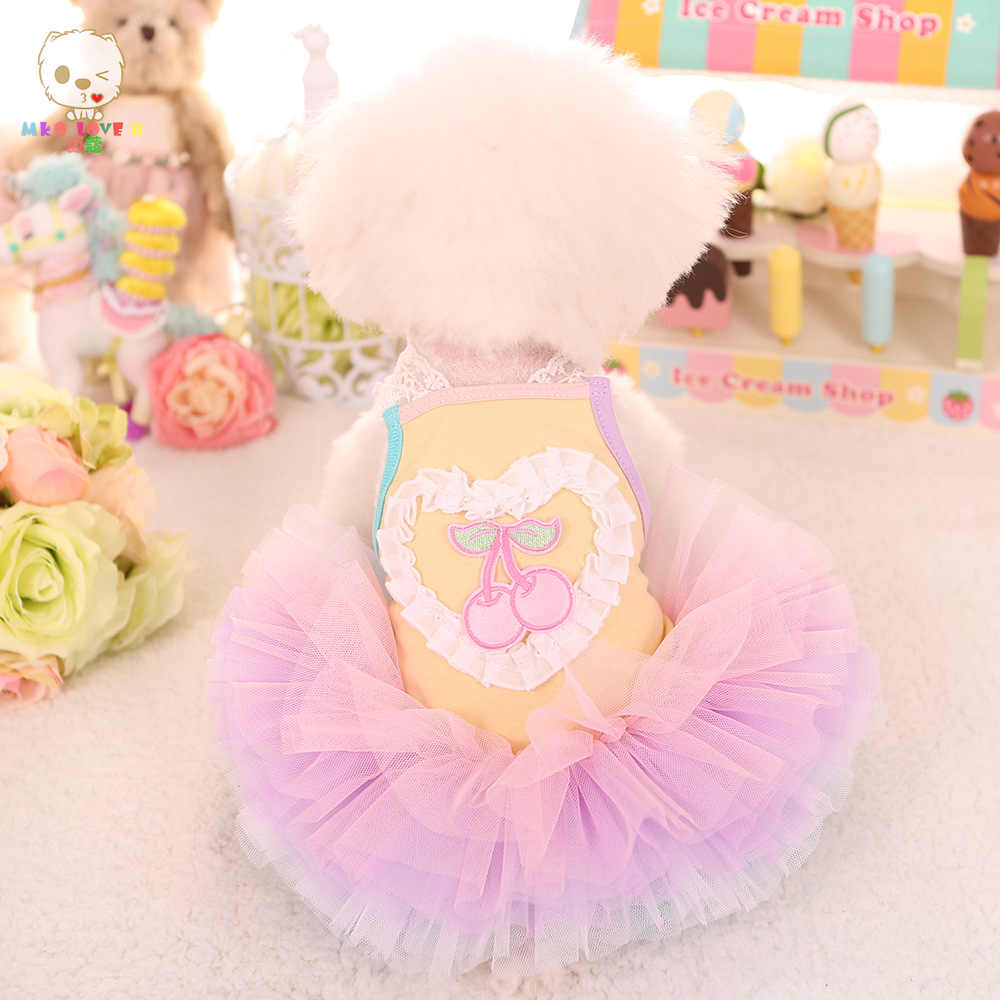 Вишневый фруктовый дизайн милое chiwawa плюшевый маленький щенок собаки весна и лето платье принцессы собак юбка одежда