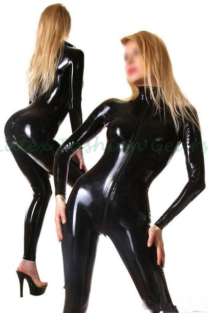 Honour Women's Catsuit Black Latex Rubber Feline Fantasy High Collar Longsleeved