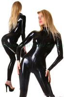 Free Shipping Honour Women S Catsuit Black Latex Rubber Feline Fantasy High Collar Longsleeved