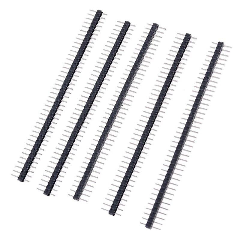 5 pcs 1x40 pin 2 54mm pitch single row pcb pin headers strip